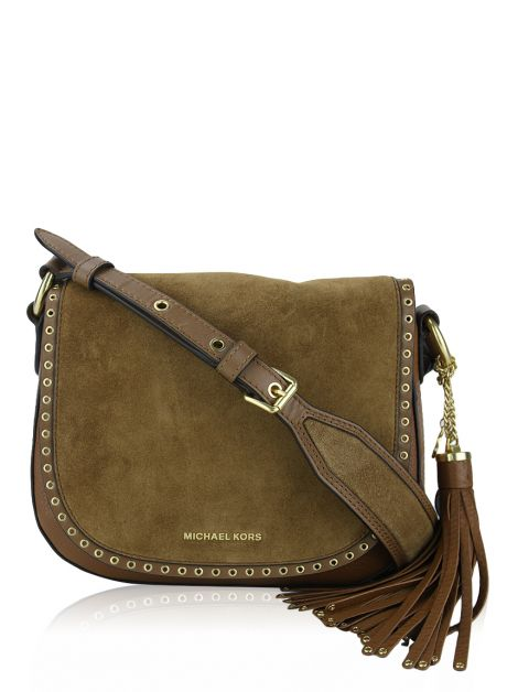 Bolsa Michael Kors Brooklyn Saddle Camurça Caramelo