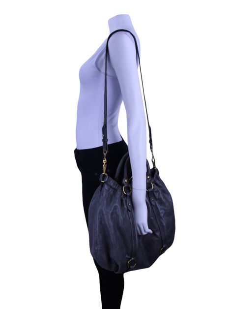 Bolsa Miu Miu Vitello Lux Gathered Shopper Chumbo