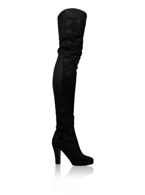 Bota Chanel City Flex Over The Knee Preta