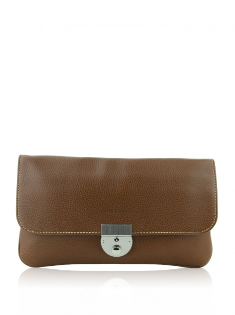 Clutch Longchamp Veau Foulonne Travel Caramelo
