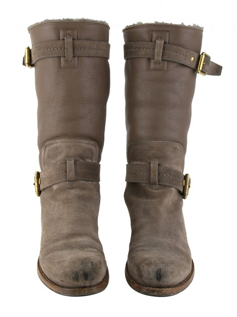 Bota Christian Dior Suede Shearling Taupe