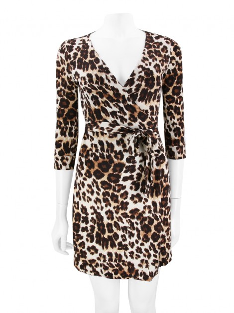 Vestido Diane Von Furstenberg New Julian Two Mini Leopardo