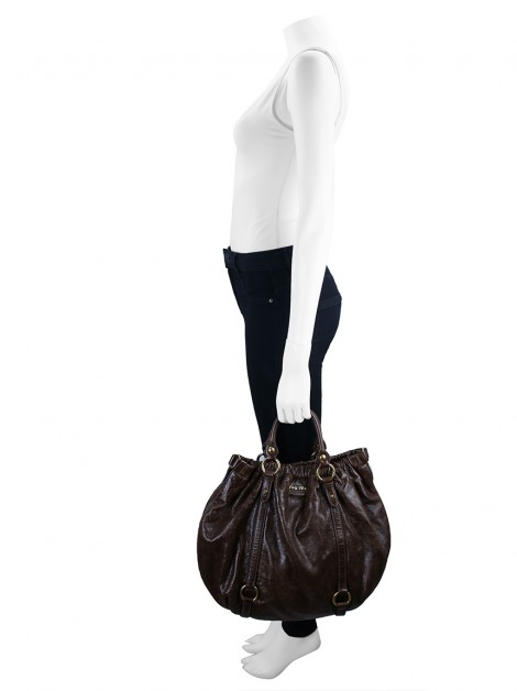 Bolsa Miu Miu Vitello Lux Gathered Shopper Tote