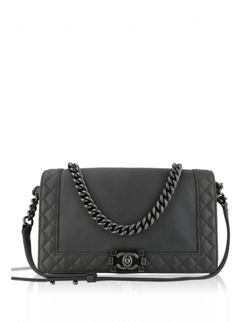 Bolsa Chanel Boy Reverso New Medium Cinza