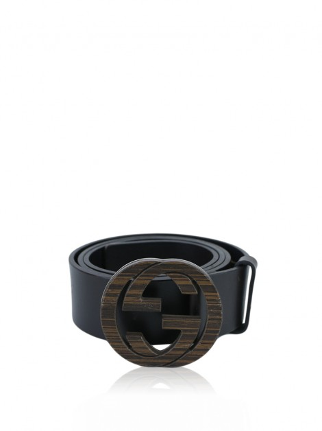 Cinto Gucci Wood Interlocking G Marrom