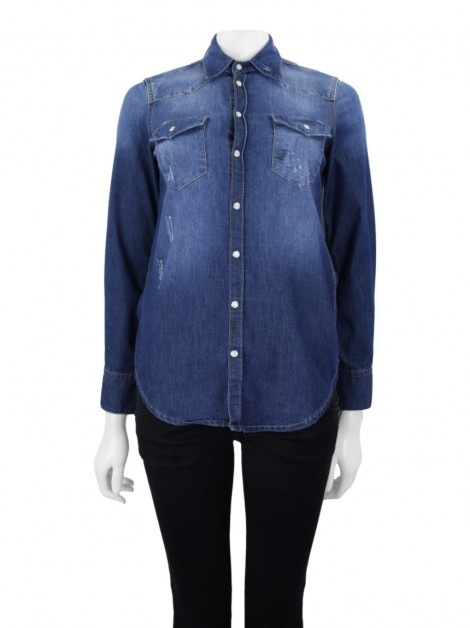 Camisa Animale Destroyed Jeans Azul