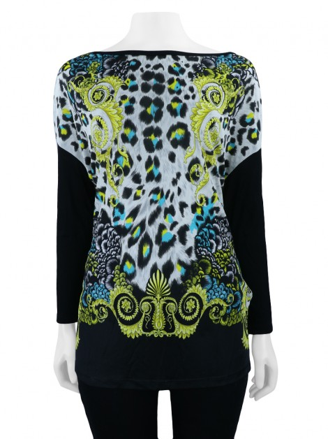 Blusa Versace Collection Arabescos Tecido Preto