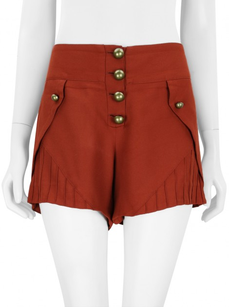 Shorts Mixed Crepe Terracota