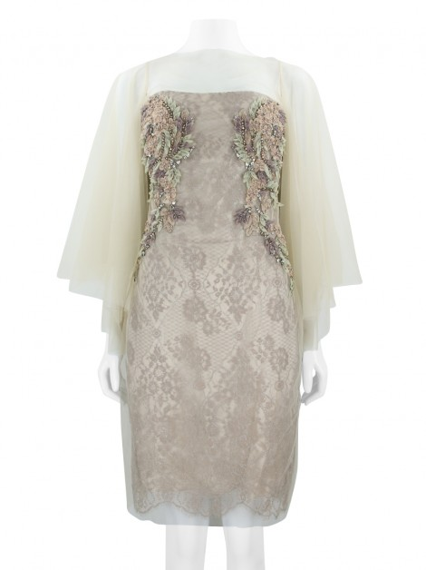 Vestido Badgley Mischka Bordado Nude