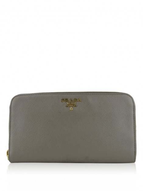 Carteira Prada Saffiano Metal Zip Around