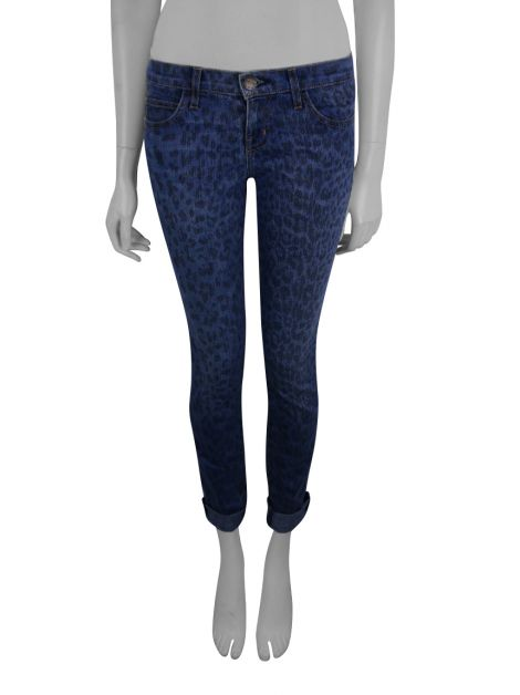 Calça Current Elliott The Rolled Skinny Indigo Leopard