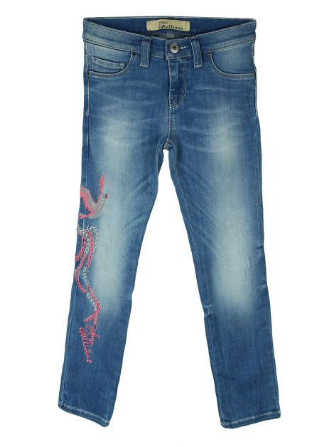 Calça John Galliano Kids Bordada Jeans