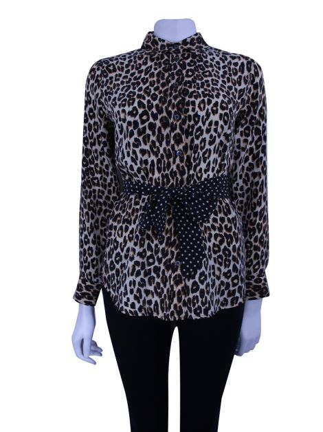Camisa Equipment Kate Moss Slim Signature Seda Animal Print