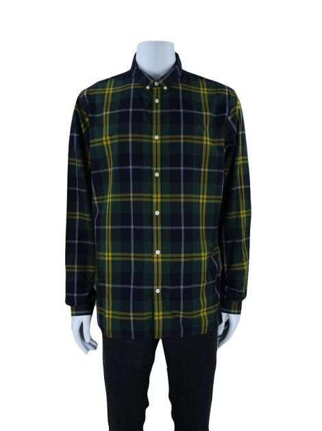 Camisa Fred Perry Slim Fit Xadrez Verde Masculina