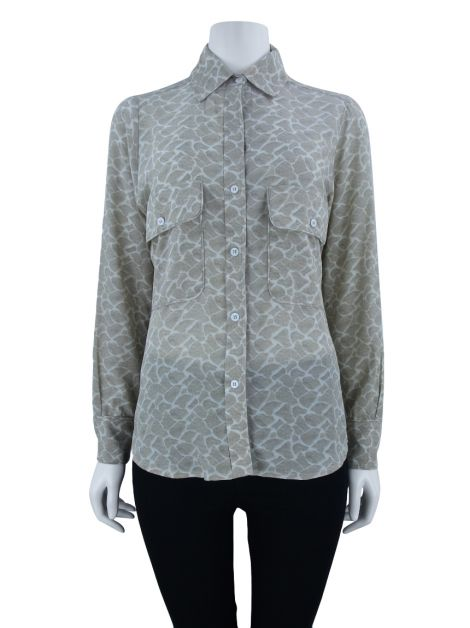 Camisa Mixed Seda Estampada Creme
