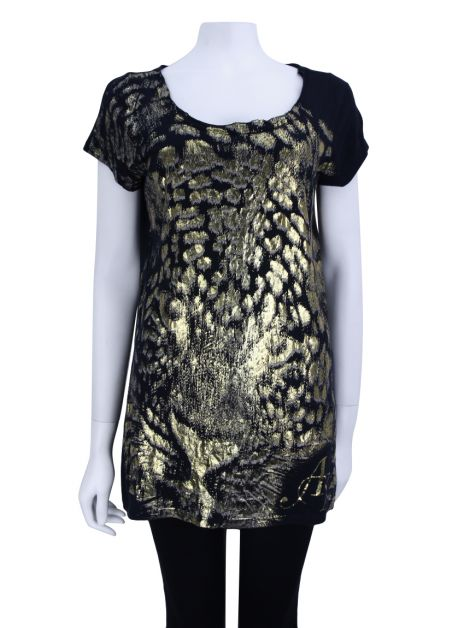 Camiseta Armani Exchange Estampado Metalizado