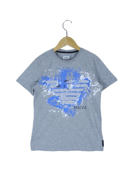 Camiseta Armani Junior Estampa Cinza Infantil