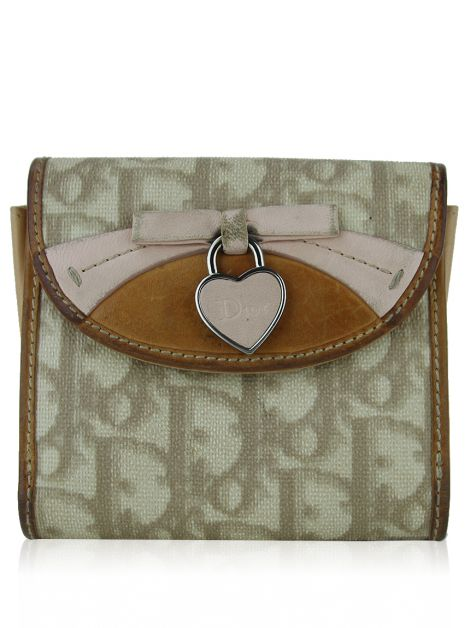 Carteira Christian Dior Romantique Canvas Bege