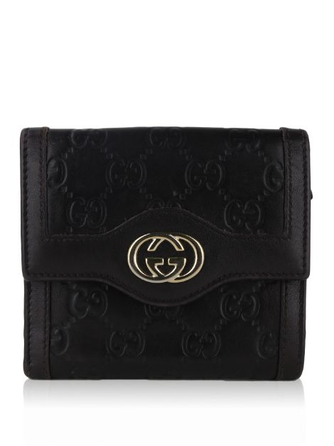 Carteira Gucci Sukey French Flap Guccissima Marrom