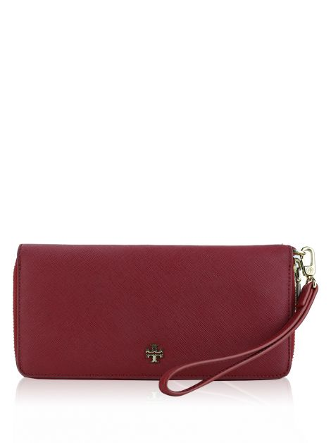 Carteira Tory Burch York Zip Passport Continental Vermelha