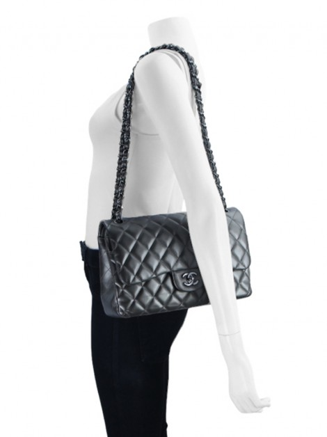 Bolsa Chanel Double Flap Jumbo Metalizado