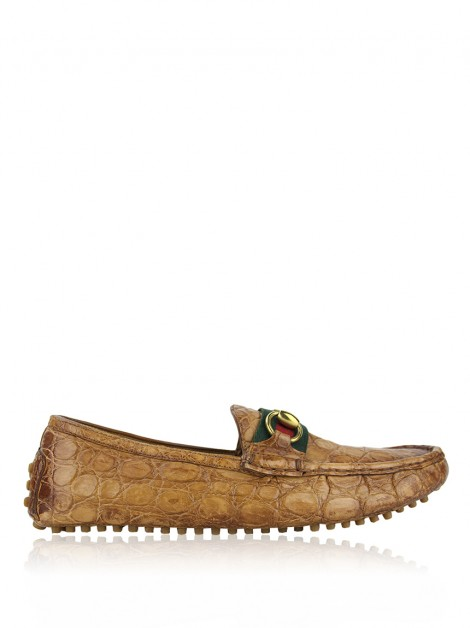 Mocassim Gucci Alligator Vintage Web Horsebit
