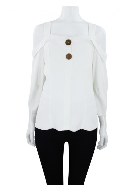 Blusa Cris Barros Crepe Off- White