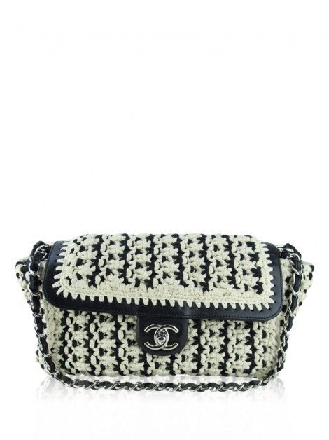 Bolsa Chanel Crochet Accordion Flap Bicolor