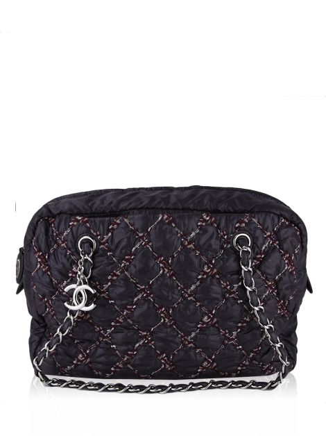 Bolsa Chanel Bubble Nylon Tweed Roxa