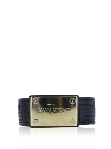 Cinto Gianni Versace Quilted Logo Preto