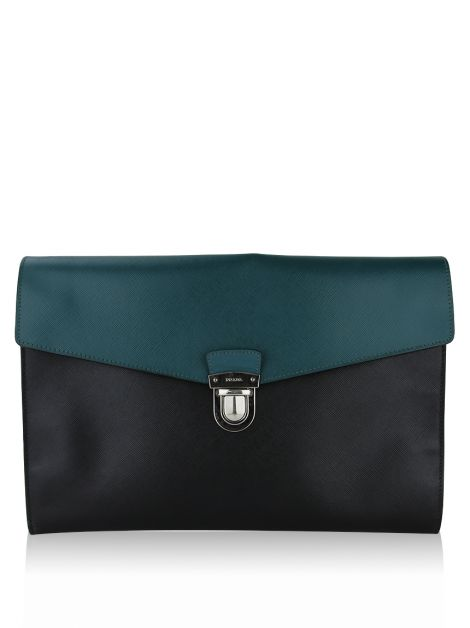 Clutch Prada Push Lock Portfolio Handbag Saffiano Leather