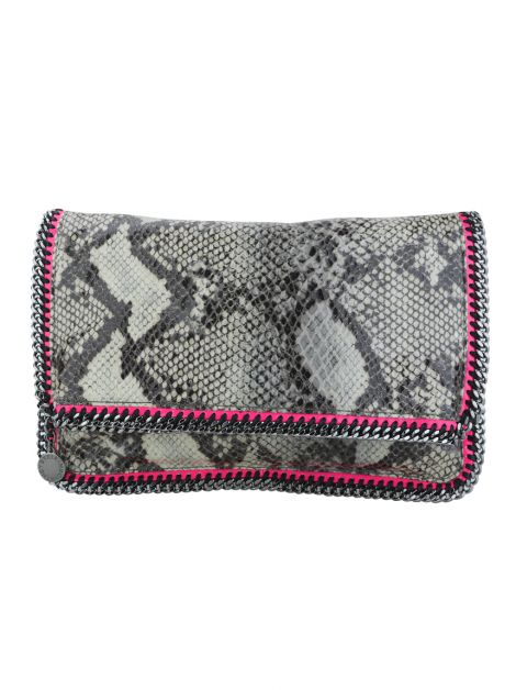 Clutch Stella McCartney Fold Over Falabella Snake Neon