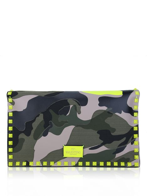 Clutch Valentino Nappa Canvas Camouflage Rockstud Flap