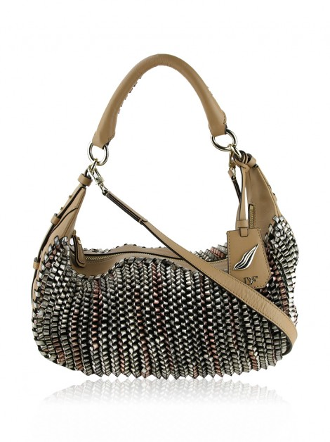 Bolsa Diane Von Furstenberg Sutra Knit-Leather Hobo