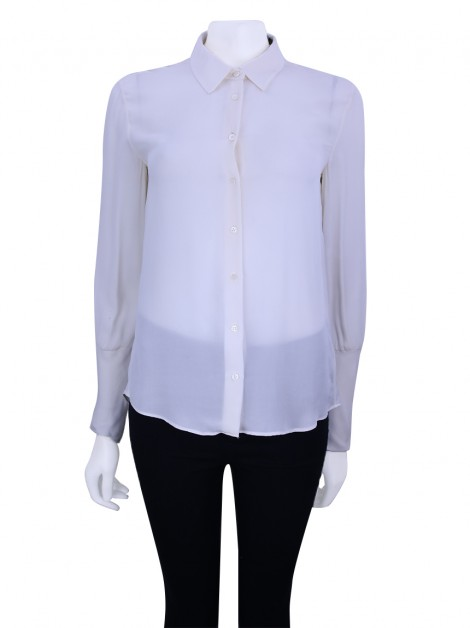 Camisa Theory Seda Off-White