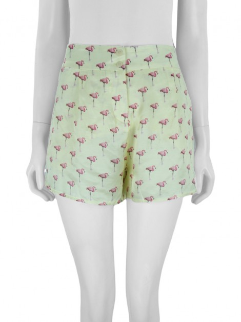 Shorts Missinclof Flamingos Amarelo