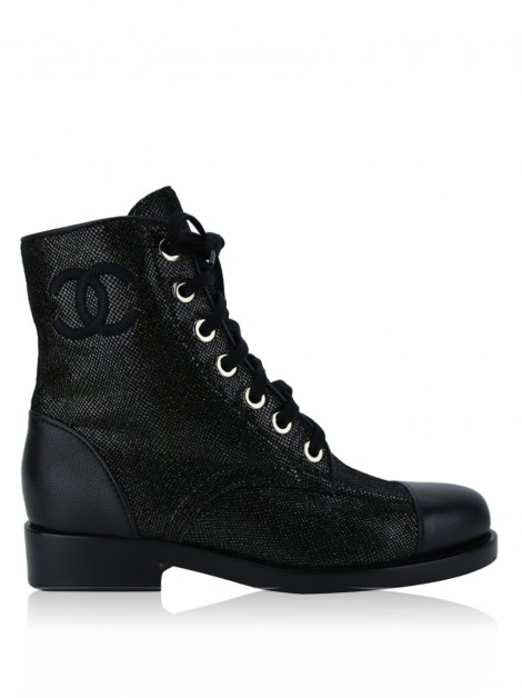 Ankle Boots Chanel Glitter Lace Up Original