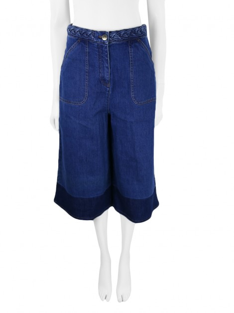 Calça Valentino Two Tone Denim Culottes