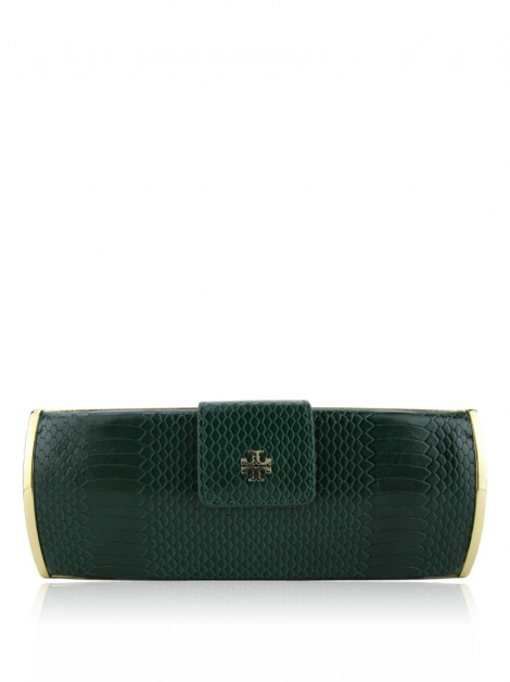 Clutch Tory Burch Snake Roll Verde