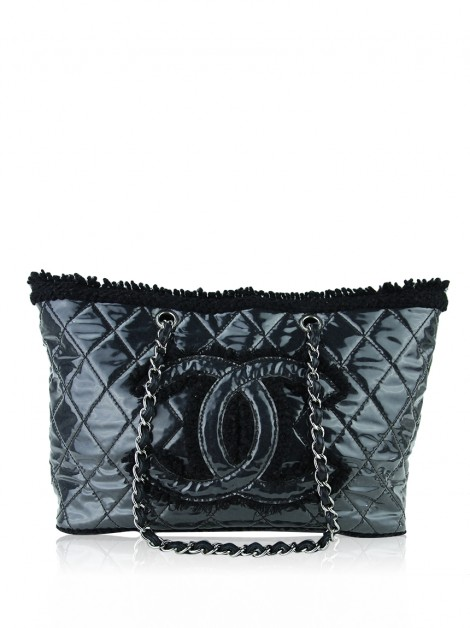 Bolsa Chanel Funny Tweed Tote Quilted Vinyl Large