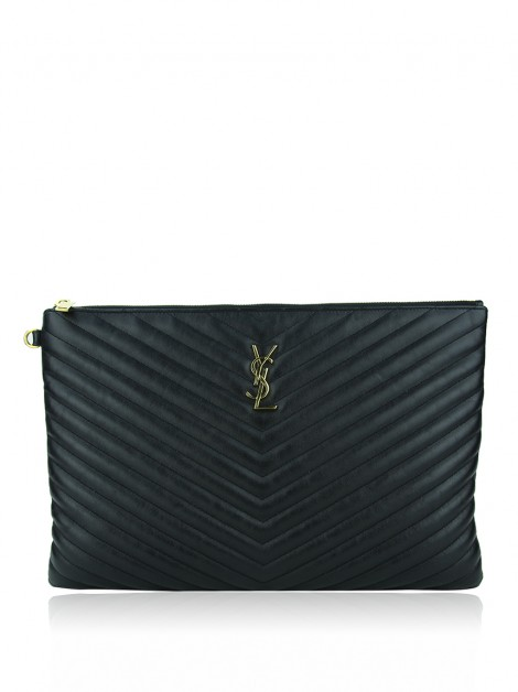 Clutch Saint Laurent Chevron Monograma