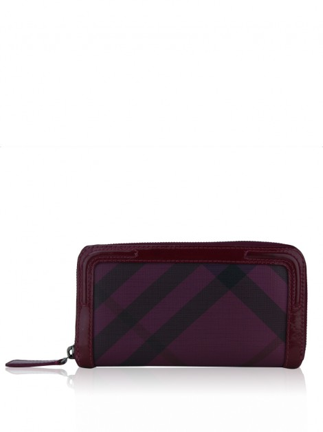 Carteira Burberry Check Zip Burgundy