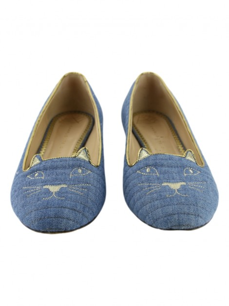 Sapatilha Charlotte Olympia Quilted Kitty Denim