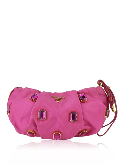 Clutch Prada Pietre Jeweled Wristlet Rosa