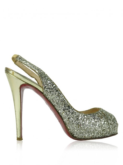 Sapato Christian Louboutin No Prive Glitter Gold