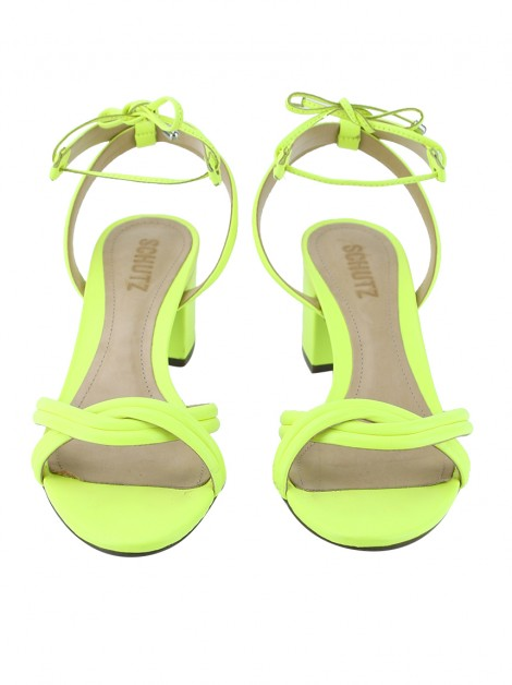 Sapato Schutz Block Heel Strings Neon Yellow