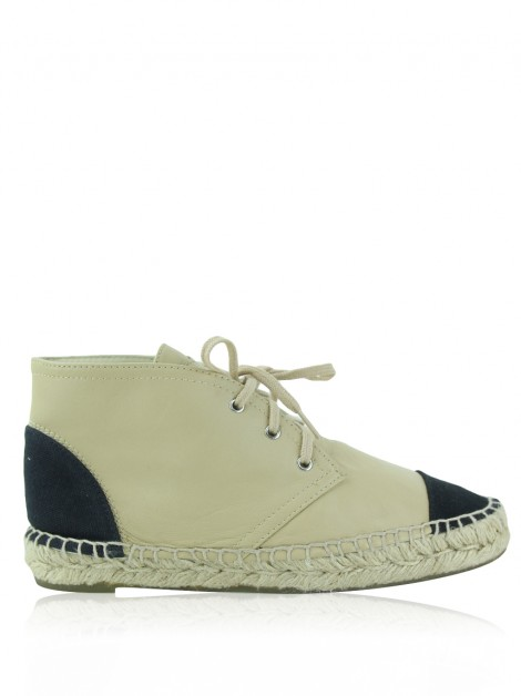 Sapato Chanel High Top Espadrilles Bege