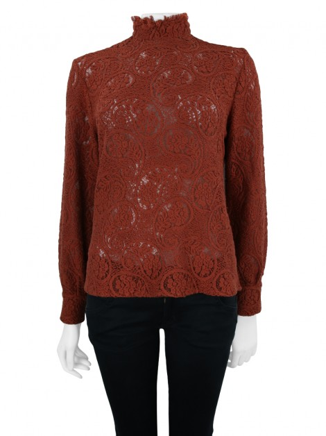 Blusa Mixed Renda Terracota