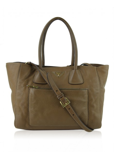 Bolsa Prada Wing Convertible Vitello Daino Marrom