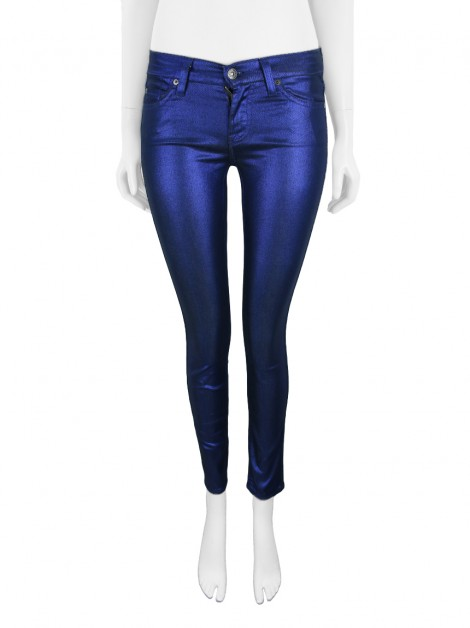 Calça Seven For All Mankind Skinny Azul Metalizado